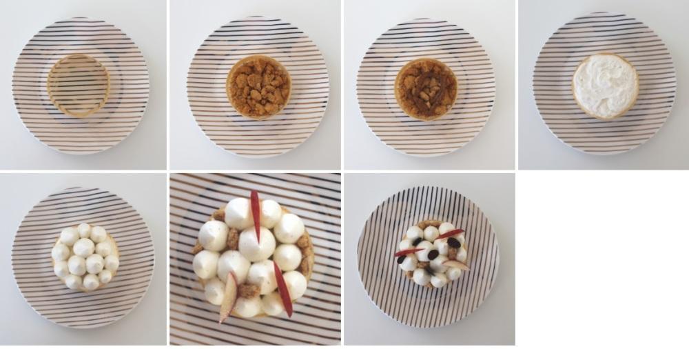 recette patisserie de la saint valentin chocolat blanc pomme et praliné montage